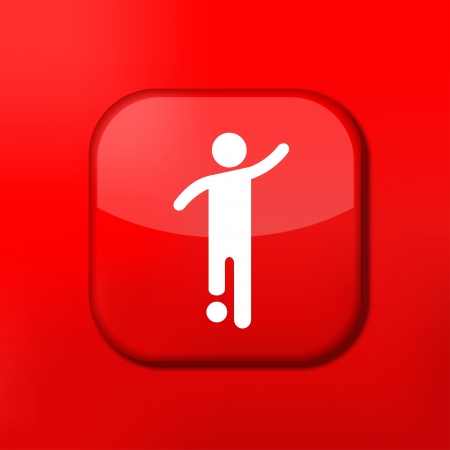Vector red footballer icon. Eps10. Easy to edit Vector