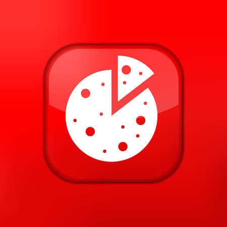 Vector red pizza icon. Eps10. Easy to edit Vector