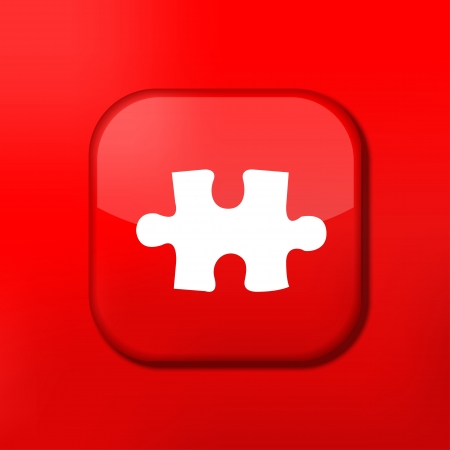 Vector red puzzle icon. Eps10. Easy to edit Stock Vector - 15708979