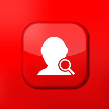 Vector red search friend icon. Eps10. Easy to edit Vector