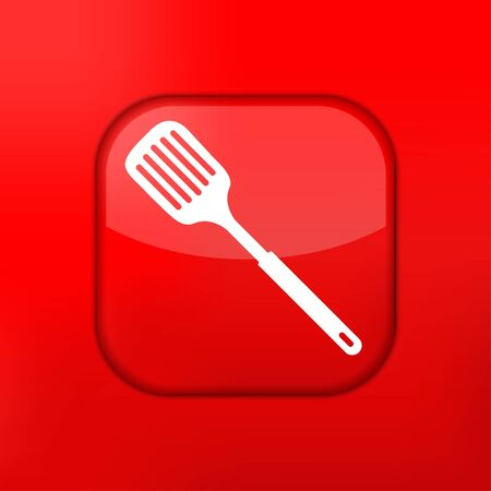 slotted: Vector red slotted kitchen spoon icon. Eps10. Easy to edit Illustration