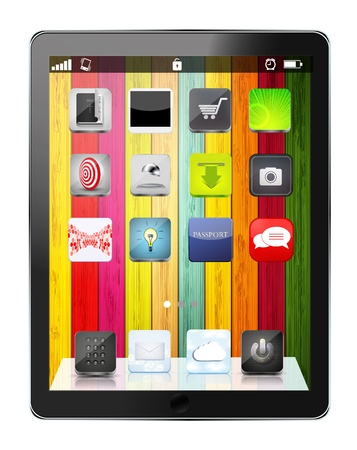 vector realistic computer tablet with app icon on colorful wooden background. Eps10 Vector
