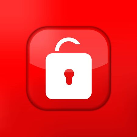 Vector red unlock icon. Eps10. Easy to edit Stock Vector - 15709536