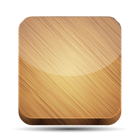 Vector wooden app icon on white background. Eps10 Vector