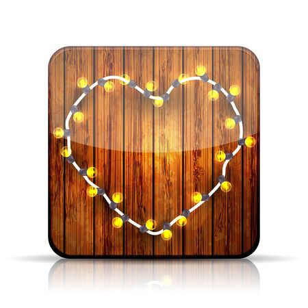 A heart garland on wooden background. Stock Vector - 15952677