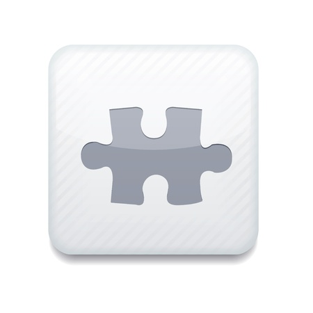 solutions icon: white puzzle icon. Illustration