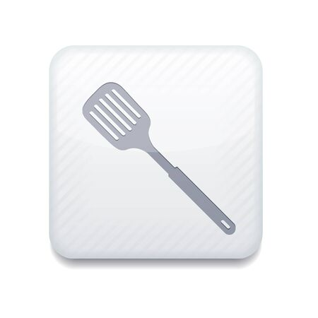 white slotted kitchen spoon icon. Vector