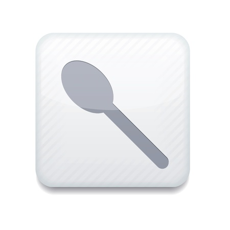white teaspoon icon. Stock Vector - 15951625