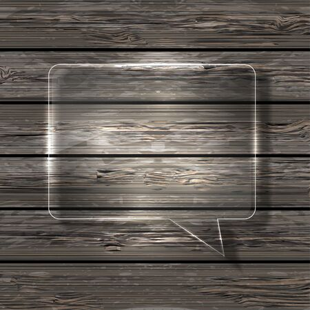 glass bubble speech on wooden background. photo