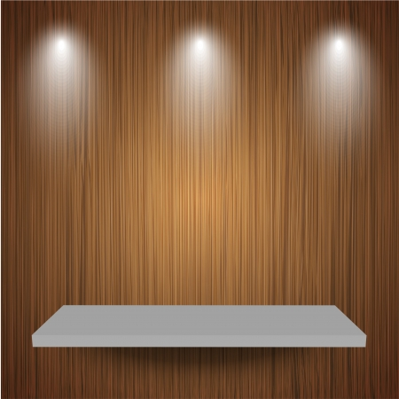 Vector shelf on wooden background. Stock Vector - 16197238