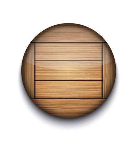 Vector circle wooden app icon on white background.   Vector