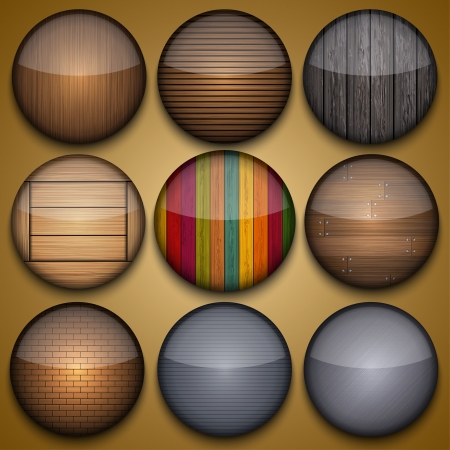 Vector creative circle app set on briwn background. Eps10