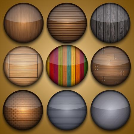 Vector creative circle app set on briwn background. Eps10