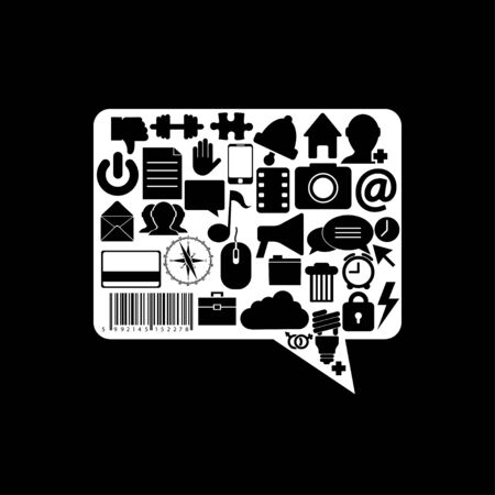 Vector bubble speech icon on black background. Eps10 Vector
