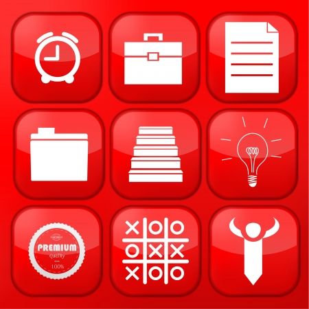 Vector red business app icon set  Eps10 Vector