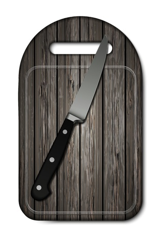 Vector wooden cutting board with knife on white background. Eps10 Vector