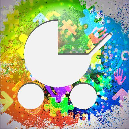 nursing mother: Vector icono. Fondo abstracto colorido. Eps10