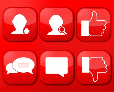 Vector red social Network app icon set. Eps10 Stock Vector - 16773331