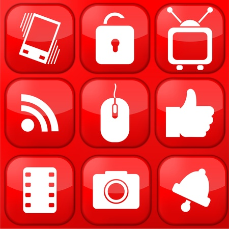 Vector red technology app icon set. Eps10 Stock Vector - 16773357