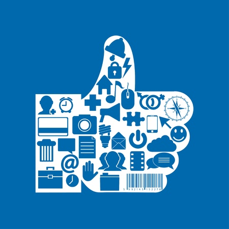 Vector thumb up icon on blue background. Eps10 Vector
