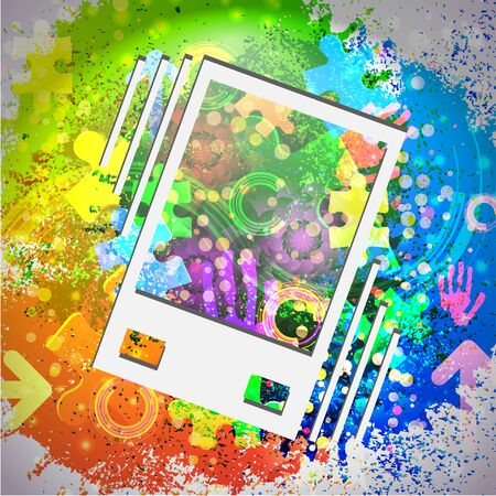 vibrating: Vector icon. Colorful abstract background. Eps10