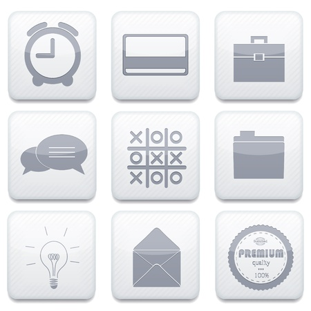 Vector white business app icon set. Eps10 Vector