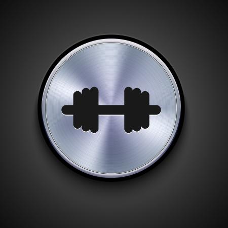 kilograms: vector metal icon on gray background. Eps10