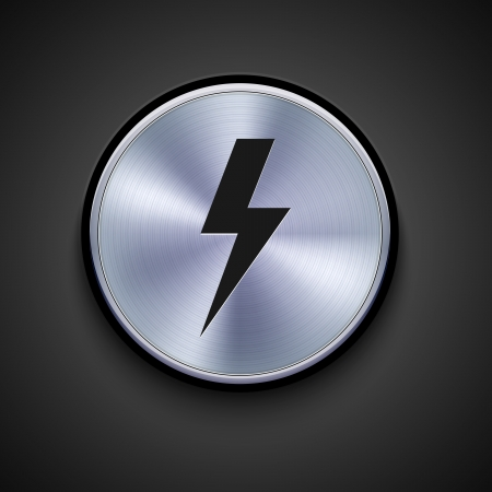 electrocute: vector metal icon on gray background. Eps10