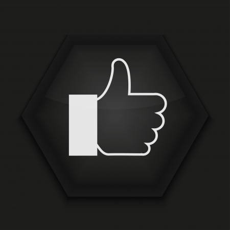 finger up: Vector creative icon on black background. Eps10