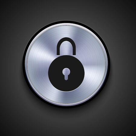 door lock: vector metal icon on gray background. Eps10