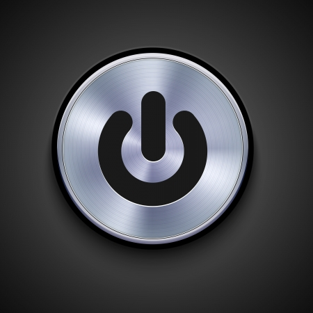 pause button: vector metal icon on gray background. Eps10