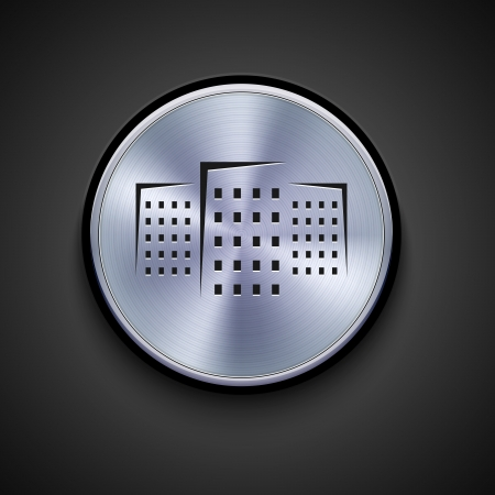 urban district: vector metal icon on gray background. Illustration