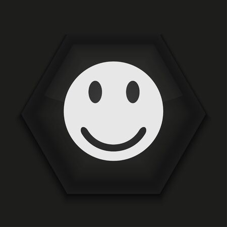 happy face: Vector creative icon on black background. Eps10