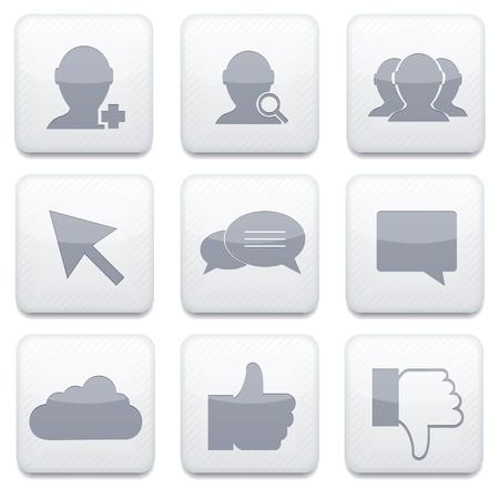 Vector white social Network app icon set. Eps10 Stock Vector - 17274994