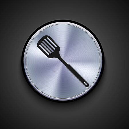 slotted: vector metal icon on gray background. Eps10