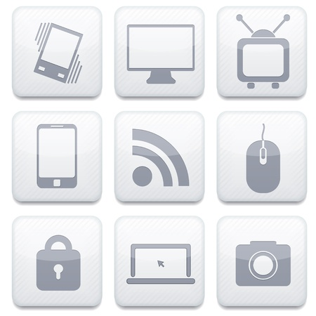 Vector white technology app icon set. Eps10 Vector