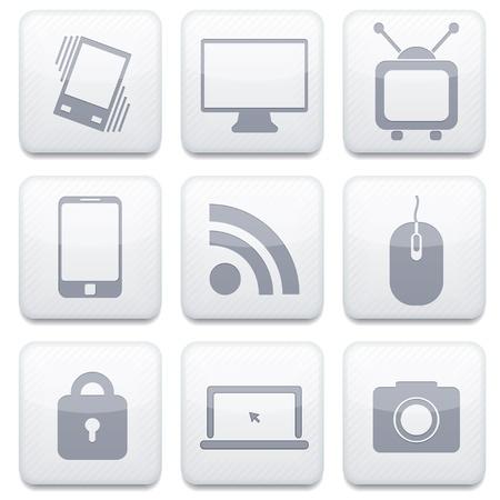 Vector white technology app icon set. Eps10 Illustration