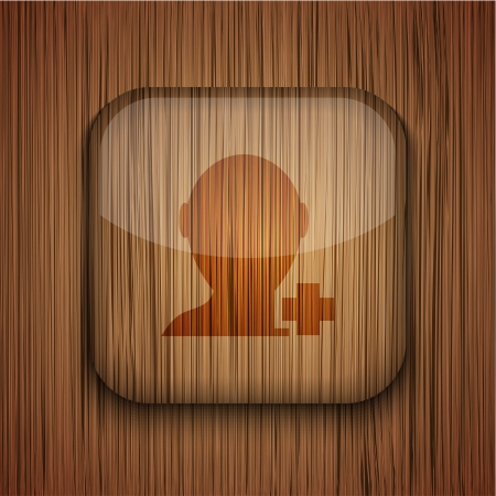 Vector wooden app icon on wooden background. Eps10 Stock Vector - 17660529