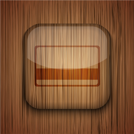 Vector wooden app icon on wooden background. Eps10 Stock Vector - 17660531