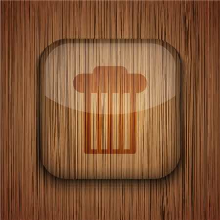 Vector wooden app icon on wooden background. Eps10 Stock Vector - 17660538