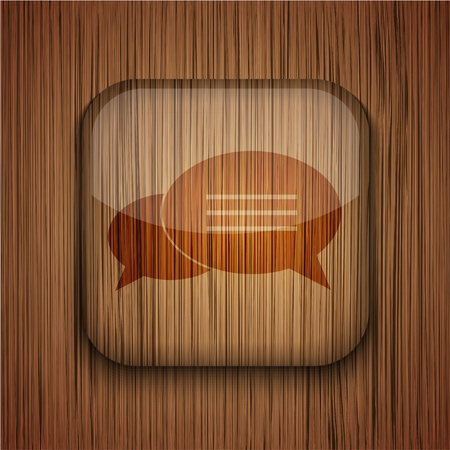 Vector wooden app icon on wooden background. Eps10 Stock Vector - 17660536