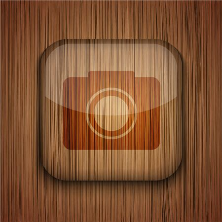 wooden app icon on wooden background.  Illustration