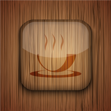 Vector wooden app icon on wooden background. Eps10 Stock Vector - 17660632