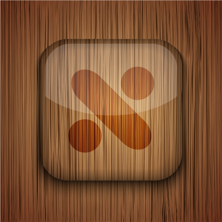 Vector wooden app icon on wooden background. Eps10 Stock Vector - 17660651