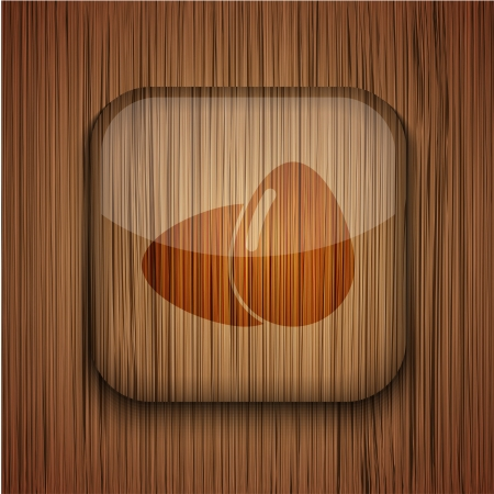 Vector wooden app icon on wooden background. Eps10 Stock Vector - 17660633