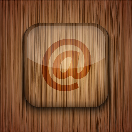 Vector wooden app icon on wooden background. Eps10 Stock Vector - 17660636