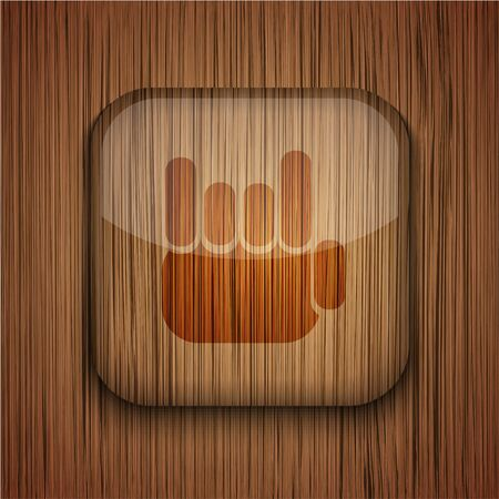 Vector wooden app icon on wooden background. Eps10 Stock Vector - 17660640