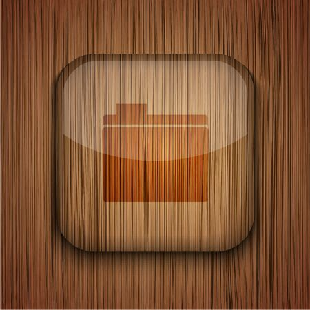 Vector wooden app icon on wooden background. Eps10 Stock Vector - 17660641