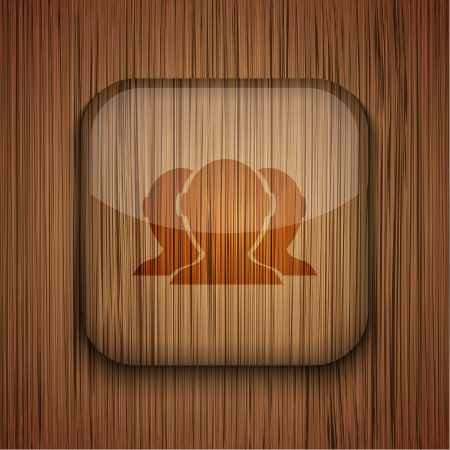 wooden app icon on wooden background.  Stock Vector - 17660722
