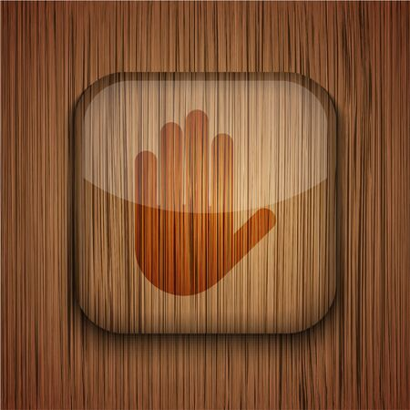 wooden app icon on wooden background.  Stock Vector - 17660728